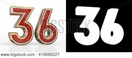 Number Thirty-six (number 36) With Red Transparent Stripe On White Background, With Alpha Channel. 3