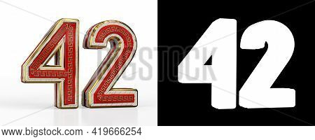 Number Forty-two (number 42) With Red Transparent Stripe On White Background, With Alpha Channel. 3d