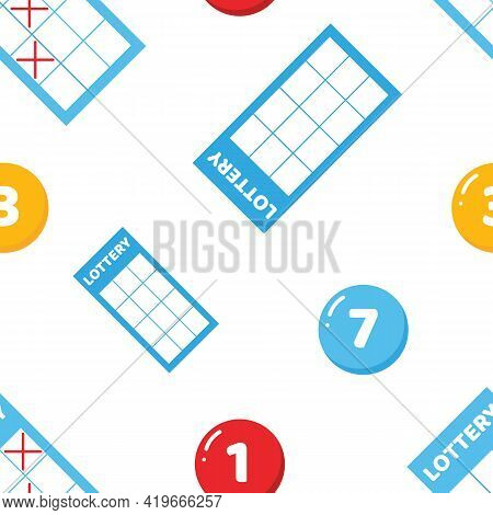 Cute Cartoon Style Lottery Tickets And Lottery Numbered Balls Vector Seamless Pattern Background.