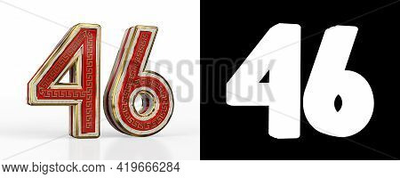 Number Forty-six (number 46) With Red Transparent Stripe On White Background, With Alpha Channel. 3d