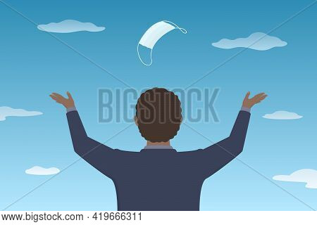 African-american Man Toss Medical Mask In The Air. Lockdown Is Over. Vector Illustration.