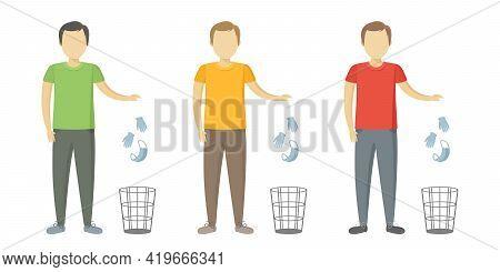 Caucasian Man Throw Medical Mask And Gloves In Wastebasket. Quarantine Cancellation. Vector Illustra