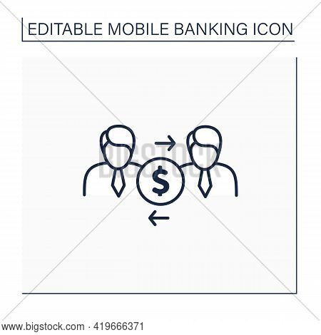 P2p Payments Line Icon. People Transfer From Card To Card, Mobile Phone. Splitting Bill Between Frie