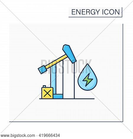 Oil Power Color Icon. Fossil Fuel Power Station. Mining Coal, Fuel Oil, Natural Gas.electricity Gene
