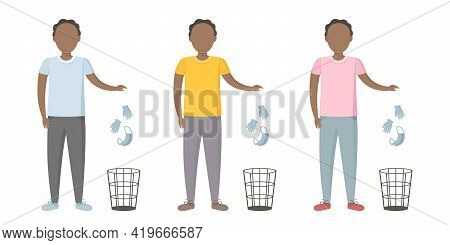 African Man Throw Medical Mask And Gloves In Wastebasket. Quarantine Cancellation. Vector Illustrati