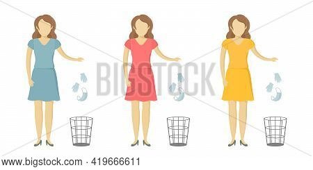Caucasian Woman Throw Medical Mask And Gloves In Wastebasket. Quarantine Cancellation. Vector Illust