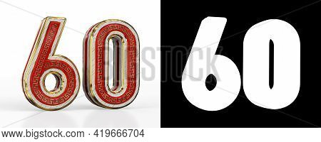 Number Sixty (number 60) With Red Transparent Stripe On White Background, With Alpha Channel. 3d Ill