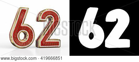 Number Sixty-two (number 62) With Red Transparent Stripe On White Background, With Alpha Channel. 3d