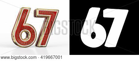 Number Sixty-seven (number 67) With Red Transparent Stripe On White Background, With Alpha Channel.