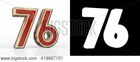 Number Seventy-six (number 76) With Red Transparent Stripe On White Background, With Alpha Channel.