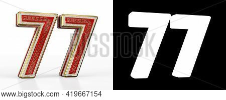 Number Seventy-seven (number 77) With Red Transparent Stripe On White Background, With Alpha Channel