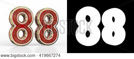 Number Eighty-eight (number 88) With Red Transparent Stripe On White Background, With Alpha Channel.