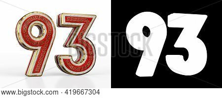 Number Ninety-three (number 93) With Red Transparent Stripe On White Background, With Alpha Channel.