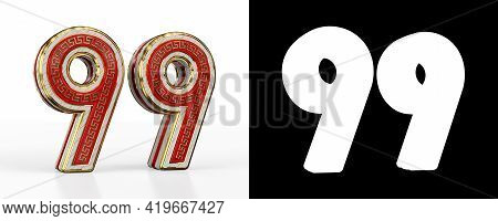 Number Ninety-nine (number 99) With Red Transparent Stripe On White Background, With Alpha Channel.