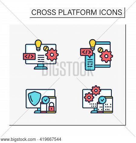 Cross Platform Color Icons Set. Software And Hardware Platform, Security, Programming. Digitalizatio