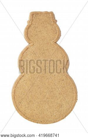 Blank Gingerbread Snowman Isolated Over White Background