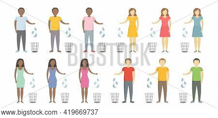 People Of Different Nationalities Throw Medical Masks In Wastebaskets. Vector Illustration.