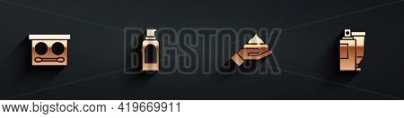 Set Eye Shadow Palette, Spray Can For Hairspray, Cream Lotion Cosmetic Tube And Icon With Long Shado