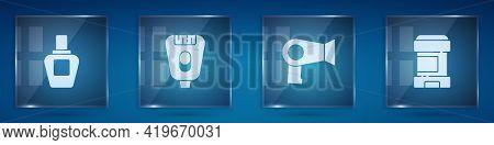 Set Perfume, Epilator, Hair Dryer And Antiperspirant Deodorant Roll. Square Glass Panels. Vector