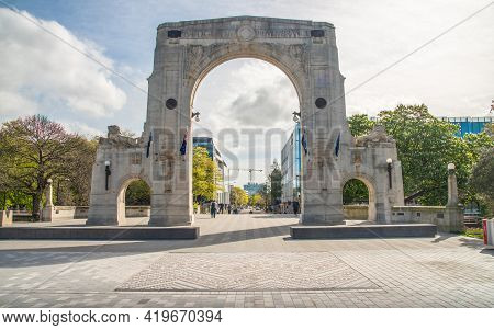 Christchurch, New Zealand - October 02 2017: The Bridge Of Remembrance An Iconic Landmark To Commemo