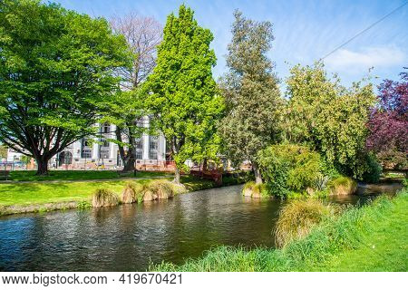 Beautiful And Tranquility View Of Avon River The River Runs Through The Beautiful Scenery Of Christc