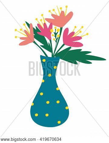 Beautiful Decorative Flowers Bouquet In Vase. Bouquet Of Flowers. Romantic Floristic Composition. Sp