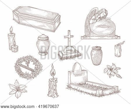 Funeral Service Elements Hand Drawn Vector Illustration Collection. Engraved Tombstone, Cross, Candl