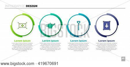 Set Magic Carpet, Lamp Or Aladdin, Wand And Ancient Magic Book. Business Infographic Template. Vecto