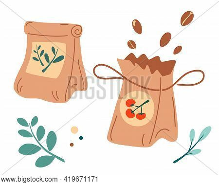 Packs Of Seeds. Fertilizer Organic Bag. Set Of Pack Of Vegetable Seeds For Decor, Banner, Print. Con