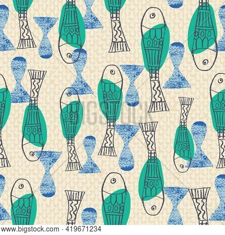 Abstract Stylized Fish Background Seamless Pattern. Chalk Hand Drawn Naive Style On Texture Backgrou