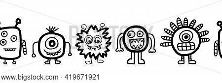 Cute Monster Border Seamless Vector. Repeating Cute Aliens And Monsters Horizontal Repeating Pattern