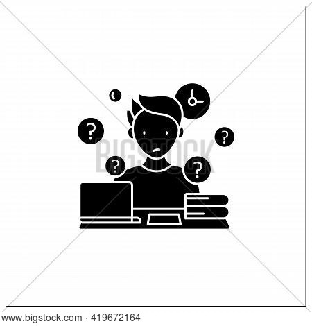 Overdoer Procrastinator Glyph Icon.taking Extra Work. Too Many Tasks.procrastination Concept.filled