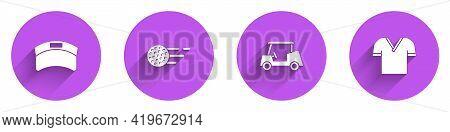 Set Sun Visor Cap, Golf Ball, Car And Shirt Icon With Long Shadow. Vector