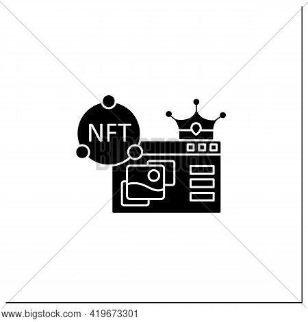 Nft Supermarket Glyph Icon.ability To Buy Non Fungible Tokens. Unique Digital Assets Market. Assets