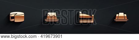 Set Cake, Pudding Custard, Piece Of Cake And Jelly Icon With Long Shadow. Vector