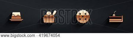 Set Pudding Custard, Ice Cream Bowl, Cookie Or Biscuit And Cherry Cheesecake Icon With Long Shadow.