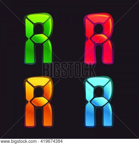 R Letter Logo In Alarm Clock Style. Digital Font In Four Color Schemes For Futuristic Company Identi
