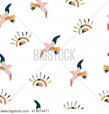 Abstract Seamless Pattern With Colorful Seagulls And Suns