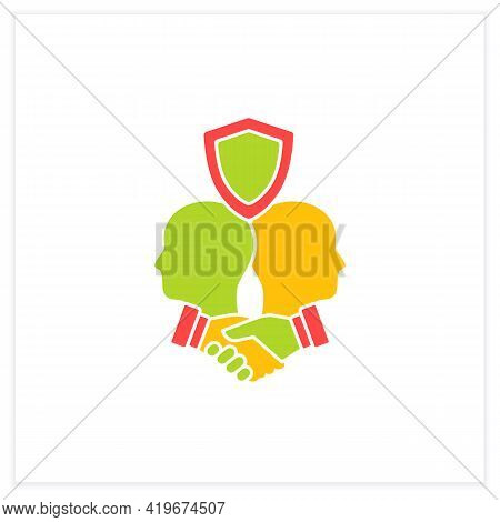 Building Trust Flat Icon. Trusting Relationships. Friendly Atmosphere. Successfully Handles, Resolve