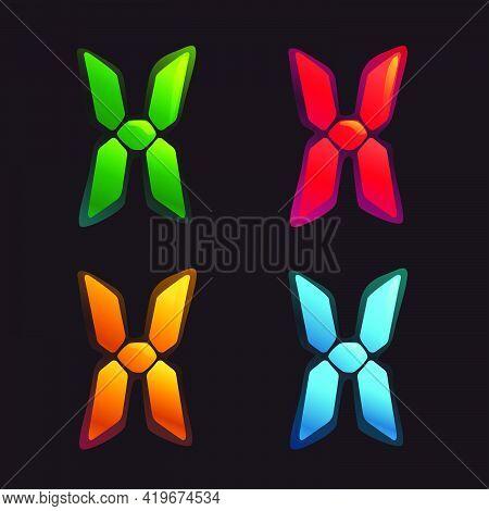 X Letter Logo In Alarm Clock Style. Digital Font In Four Color Schemes For Futuristic Company Identi