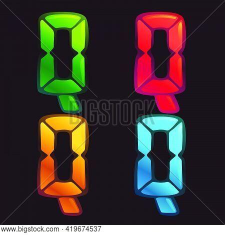 Q Letter Logo In Alarm Clock Style. Digital Font In Four Color Schemes For Futuristic Company Identi