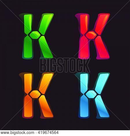 K Letter Logo In Alarm Clock Style. Digital Font In Four Color Schemes For Futuristic Company Identi