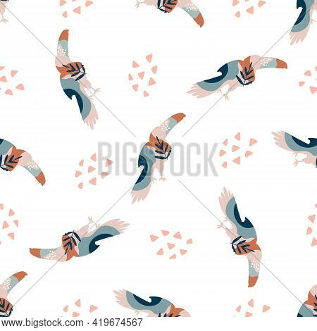 Abstract Seamless Pattern With Colorful Toucans And Abstract Shapes