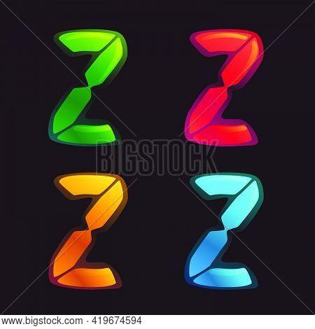 Z Letter Logo In Alarm Clock Style. Digital Font In Four Color Schemes For Futuristic Company Identi