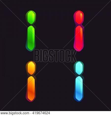 Letter I Logo In Alarm Clock Style. Digital Font In Four Color Schemes For Futuristic Company Identi