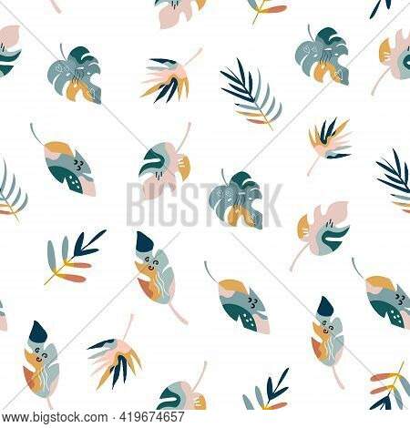Bohemian Summer Seamless Pattern With Holiday Icons, Abstract Shapes