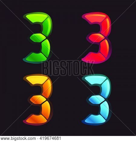 Number Three Logo In Alarm Clock Style. Digital Font In Four Color Schemes For Futuristic Company Id