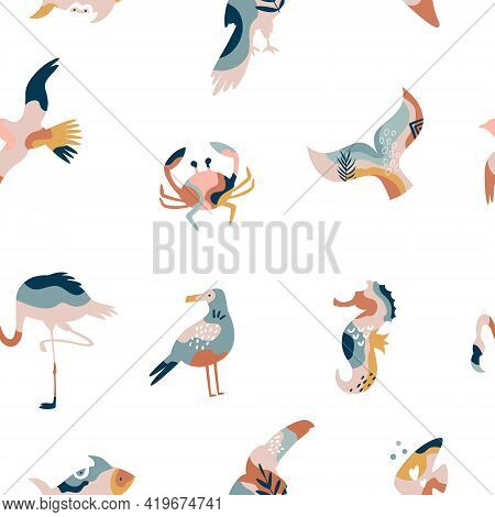Abstract Seamless Pattern With Sea Animals And Birds