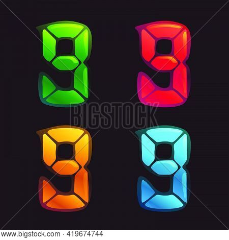 Number Nine Logo In Alarm Clock Style. Digital Font In Four Color Schemes For Futuristic Company Ide