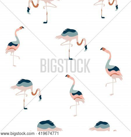 Abstract Seamless Pattern With Colorful Flamingo Birds
